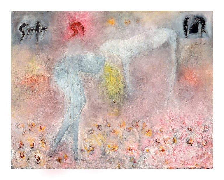 Cindy Kane Figurative Painting - Woman, Dog & Spring Flowers Figurative Abstract with Petroglyphs