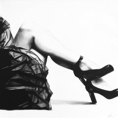"""""""It's My Party"""" black and white oil painting of womans legs in a skirt and heels"""