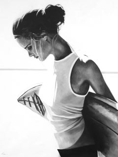 """""""Pull Me Back"""" black and white oil painting of woman carrying surfboard behind"""