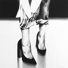 """""""Reach"""" black and white oil painting of lower legs wearing heels and hands reach"""