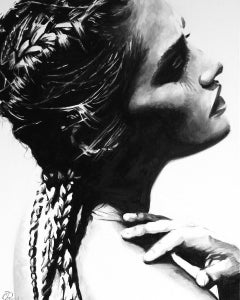 """""""Remove All Doubt"""" black and white oil painting of woman with braids, side view"""