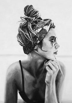 """""""Somewhere Out There"""" black and white oil painting of a woman wearing sunglasses"""