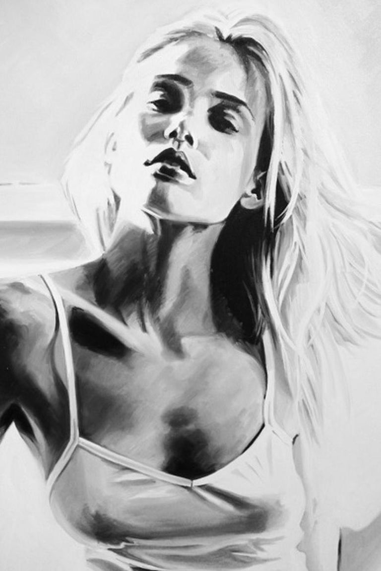 photorealistic black and white oil painting of a gorgeous blonde woman Sexy, Fashion New Wave POP influenced.   About the Artist: Cindy Press is a visual artist living and working in New York. She was born and raised in Philadelphia where she