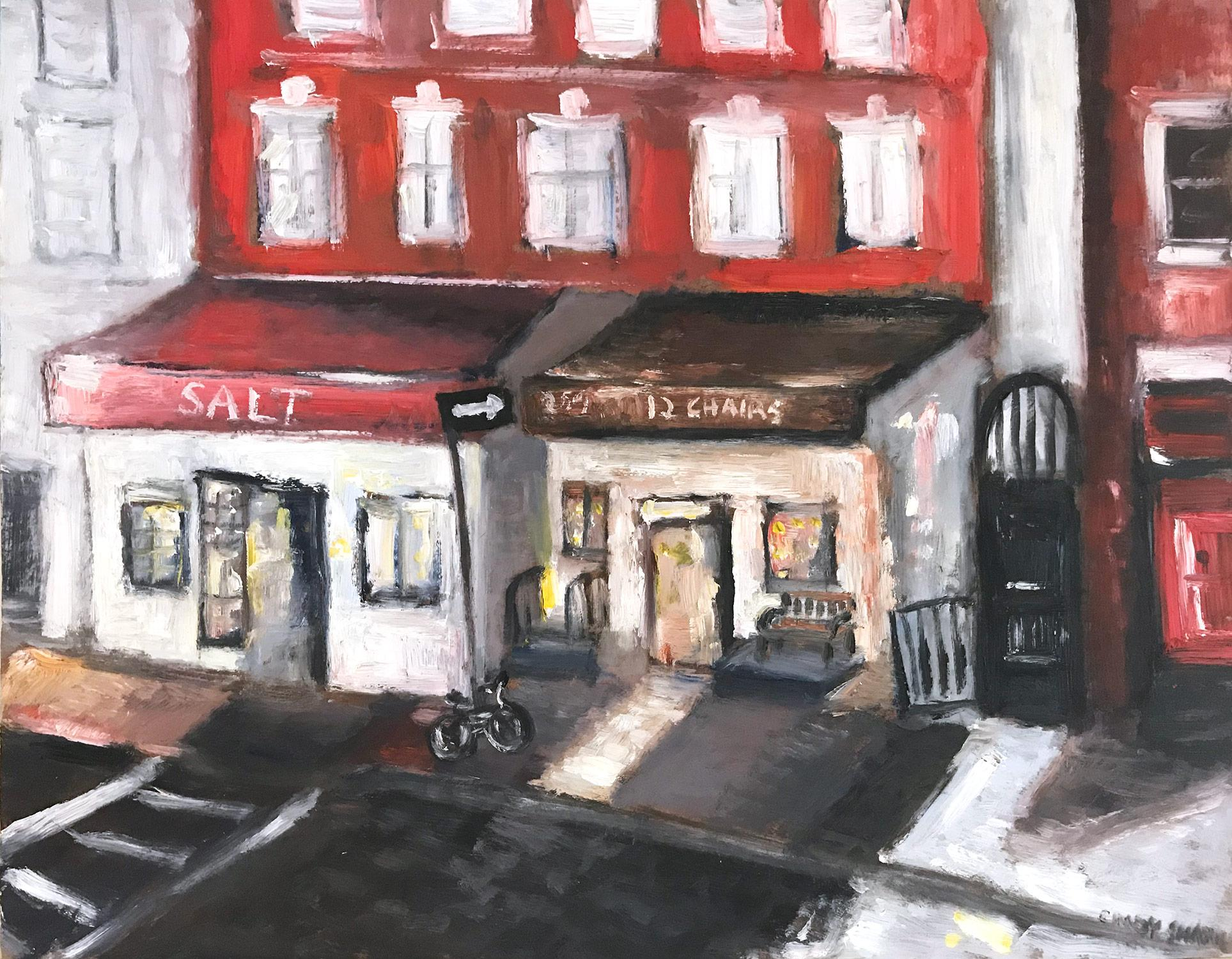 """12 Chairs"" Impressionistic Street Scene Oil Painting in West Village, Manhattan"
