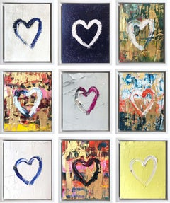 """9 pieces """"My Heart"""" Series Contemporary Oil Painting Framed with Floater Frame"""
