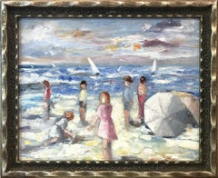 """A Day at the Beach"" Colorful Impressionistic Beach Scene Oil Painting on Panel"