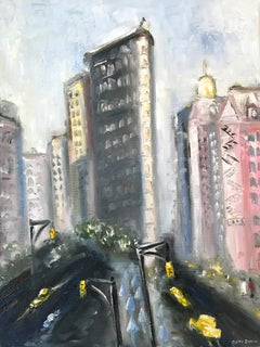 """A Day by the Flatiron"" Impressionist Oil Painting of New York City Flatiron"