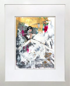 """""""Adina"""" Abstract Figure with Gown French Haute Couture Oil Painting on Paper"""