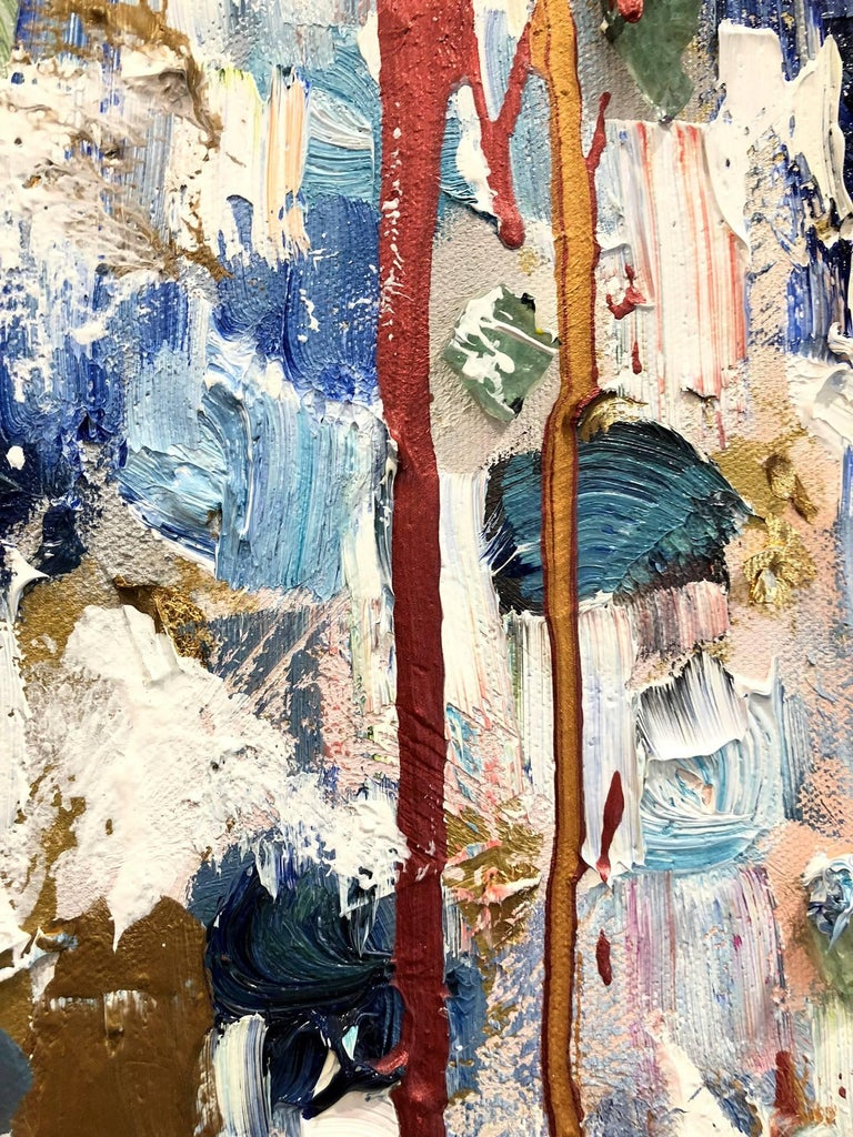 With layers of bright oils and whisking brush strokes, the paint is able to shine and shimmer in a very unique pattern. The artist uses gold drips, gold leaf, thick textured oils, mixed media and, pieces of glass to add a very contemporary, Urban