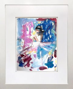 """""""Alessia"""" Abstract Figure with Gown French Haute Couture Oil Painting on Paper"""