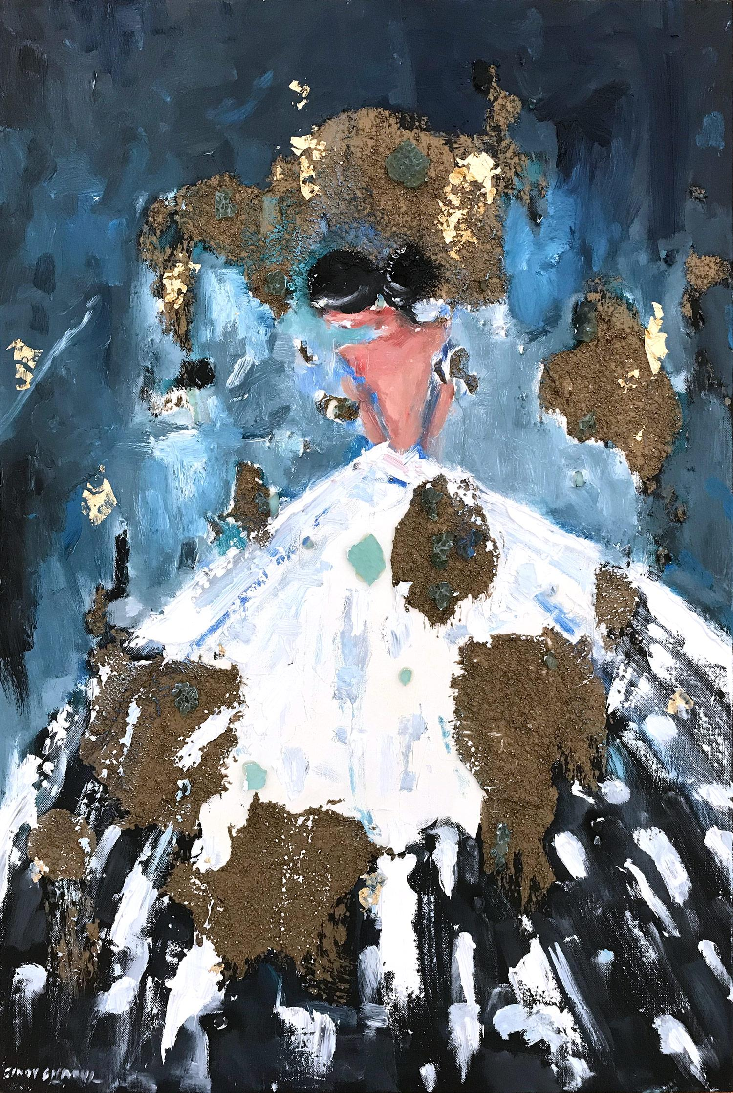 """""""Alexandra"""" Abstract Figure with Gown French Haute Couture Oil Painting on Canva"""