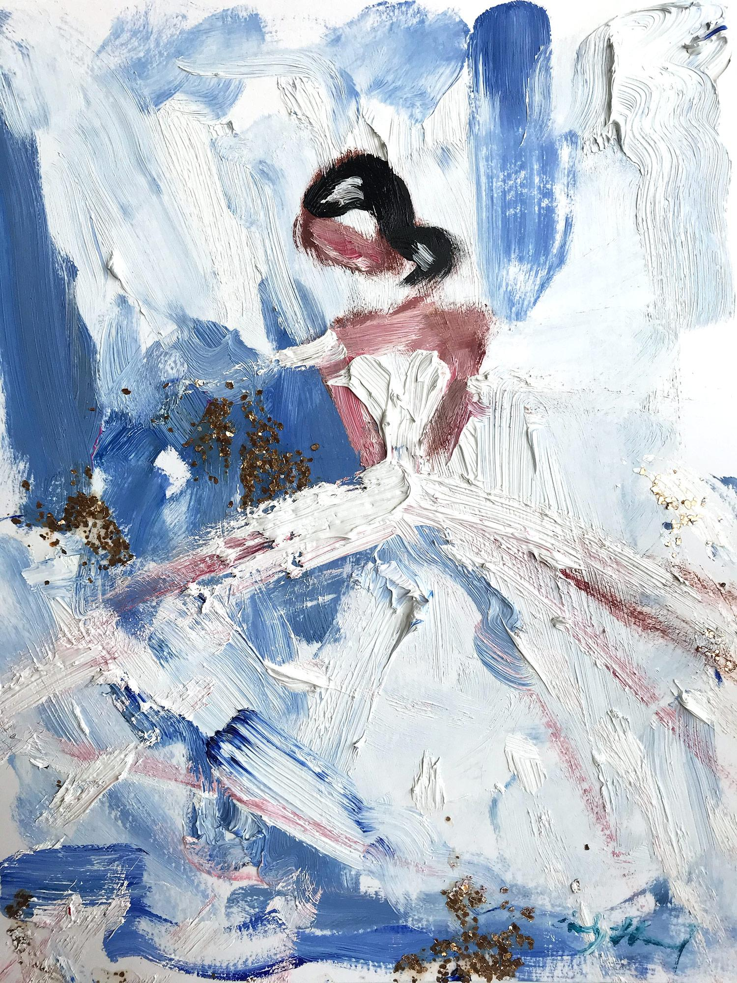 """""""Alexandria"""" Figure with Gown French Haute Couture Oil Painting on Paper"""