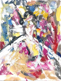 """Alexis"" Figure with Gown French Haute Couture Oil Painting on Paper"