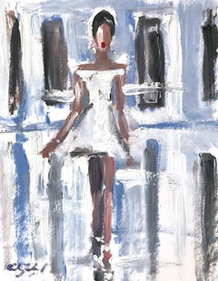 """Ali"" Interior Scene of Figure wearing Chanel Oil Painting on Paper"