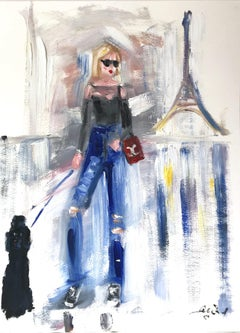 """""""Allie in Paris"""" Haute Couture Oil Painting on Paper in Chanel with Poodle Dog"""
