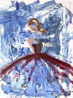 """Amalie"" Figure with Gown French Haute Couture Oil Painting on Paper"