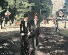 """An Afternoon Stroll at Champs-Élysées, Paris"" Impressionist Oil Painting"