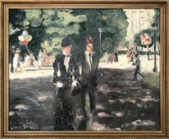 """An Afternoon Stroll at Champs-Élysées, Paris"" Impressionist Oil Painting"