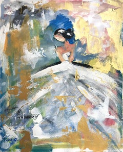 """April"" Abstract Figure with Gown French Haute Couture Oil Painting on Paper"