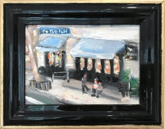 """""""At The Dutch"""" Impressionistic Plein Air Oil Painting of Figures in Soho NYC"""