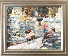 """""""At the Park"""" Impressionistic Oil Painting of Kids Feeding Ducks After Potthast"""