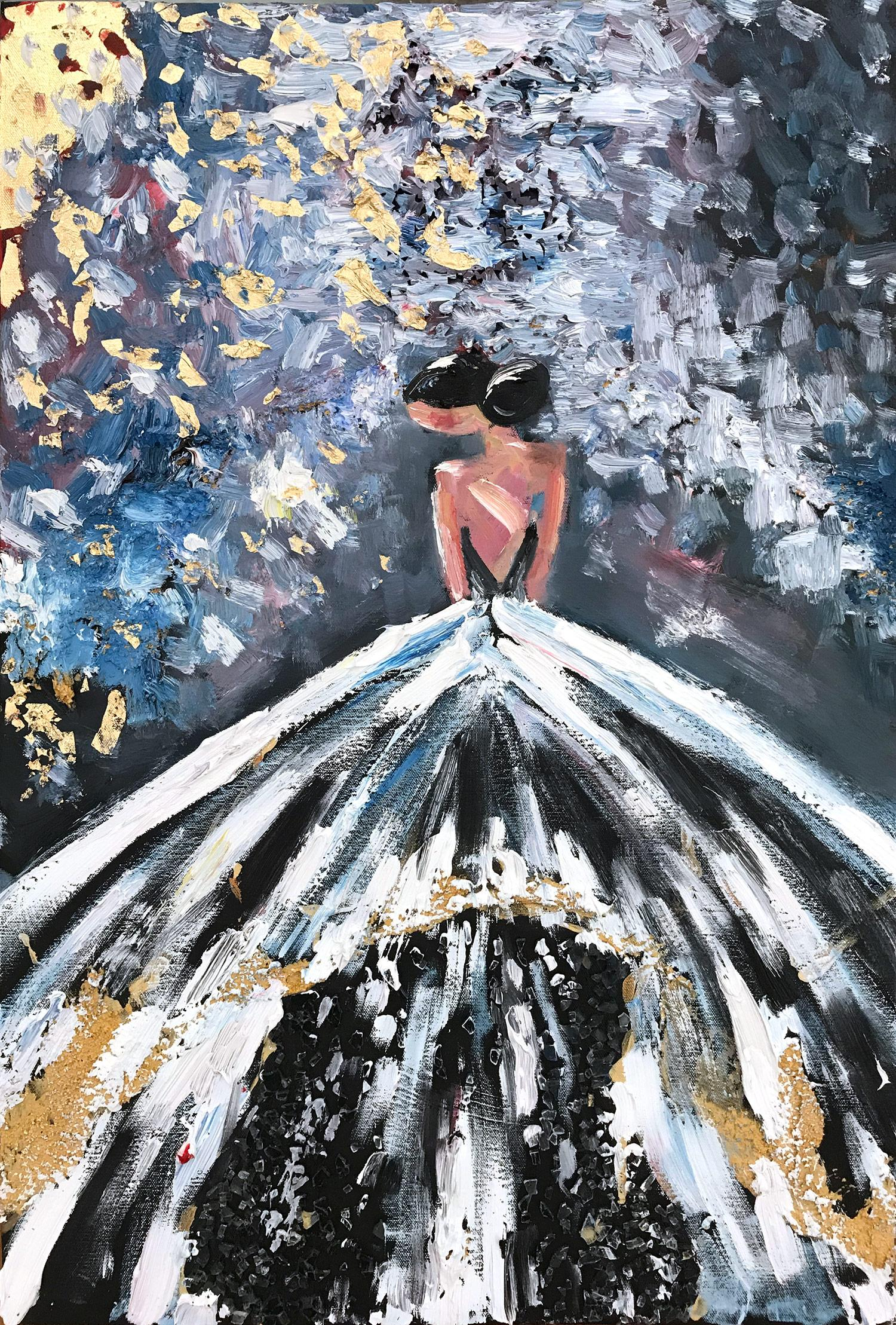 """""""Aubrey"""" Abstract Figure with Gown French Haute Couture Oil Painting on Canvas"""
