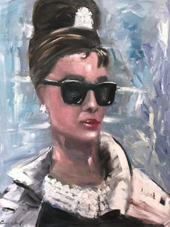 """Audrey Hepburn"" Breakfast at Tiffanys Haute Couture Oil Painting on Canvas"