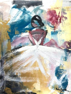 """""""Bahati"""" Abstract Figure with Gown French Haute Couture Oil Painting on Paper"""
