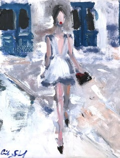 """Barcelona Nights"" Exterior Scene of Figure wearing Chanel Oil Painting on Paper"