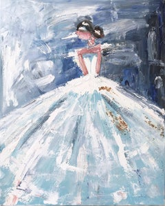 """Belen"" Abstract Figure with Gown French Haute Couture Oil Painting on Canvas"