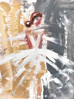 """""""Bella"""" Abstract Figure with Gown French Haute Couture Oil Painting on Paper"""