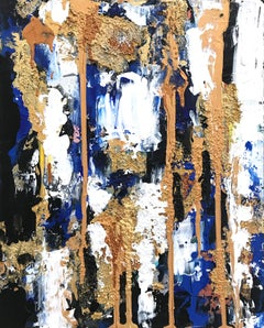 """""""Beyond Blue"""" Colorful Contemporary Oil and Mixed Media Painting on Canvas"""