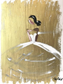 """""""Blaire"""" Figure with White Gown French Haute Couture Oil Painting on Paper"""
