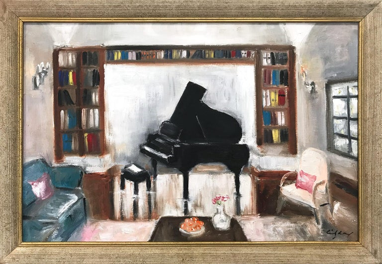 """Cindy Shaoul Still-Life Painting - """"Books and Tunes"""" Impressionist Oil Painting Library Interior Scene with Piano"""