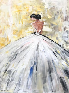"""""""Bria"""" Abstract Figure with Gown French Haute Couture Oil Painting on Canvas"""