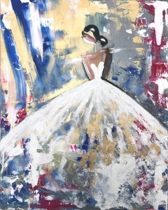 """Brice"" Abstract Figure with Gown French Haute Couture Oil Painting on Canvas"