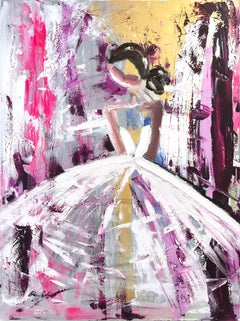 """""""Brigitte"""" Figure in Chanel Gown French Haute Couture Oil Painting on Canvas"""