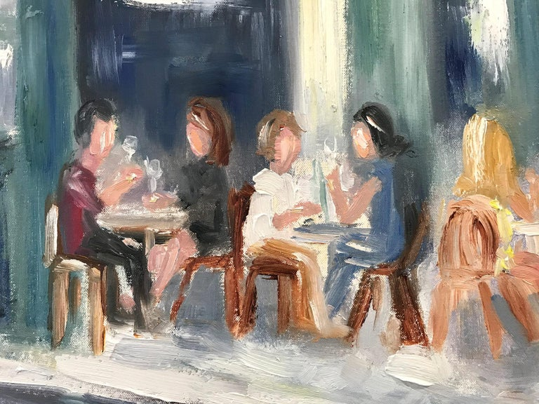 This painting depicts an impressionistic scene of Brunch at Tartine in New York City. Figures are seated having Brunch with drinks in hand on this sunny day. We can feel the texture of the paint, as the artist uses thick brush strokes to capture the