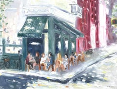 """""""Brunch at Tartine"""" NYC Impressionistic Plein Air Oil Painting on Canvas"""