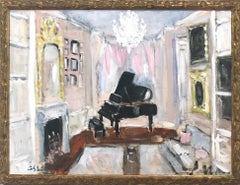"""Champagne and Tunes"" Impressionist Oil Painting Interior Scene with Piano"