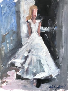 """""""Charlotte"""" Abstract Figure with Gown French Haute Couture Oil Painting on Paper"""