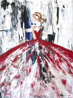 """Christin"" Abstract Figure with Gown French Haute Couture Oil Painting on Canvas"