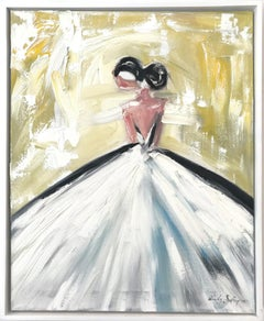 """""""Day in Paris"""" Figure with Gown French Haute Couture Oil Painting on Canvas"""
