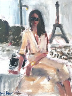 """Denise in Paris"" Figure with Chanel NYC Oil Painting on Paper"