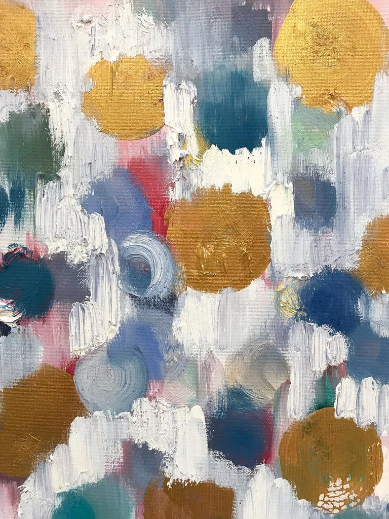 Dripping Dots, Antique Gold - Painting by Cindy Shaoul
