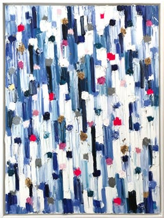 """""""Dripping Dots - Barcelona"""" Colorful Abstract Oil Painting on Canvas with Gold"""