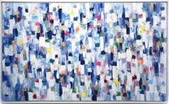 """""""Dripping Dots - Cannes"""" Colorful Abstract Landscape Oil Painting on Canvas"""