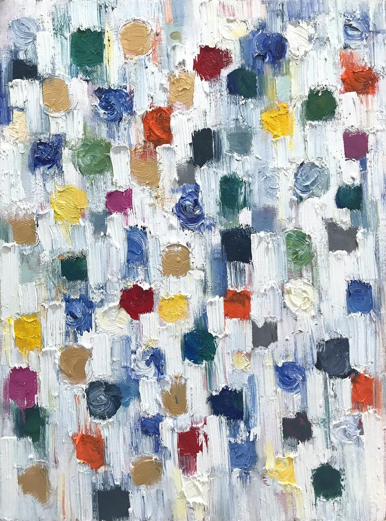 """Cindy Shaoul Abstract Painting - """"Dripping Dots - Capri"""" Colorful Abstract Oil Painting on Canvas"""
