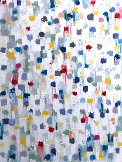 """Dripping Dots - Capri"" Colorful Contemporary Abstract Oil Painting on Canvas"