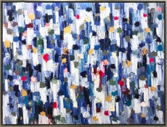 """Dripping Dots - Carrara"" Colorful Abstract Oil Painting on Canvas"